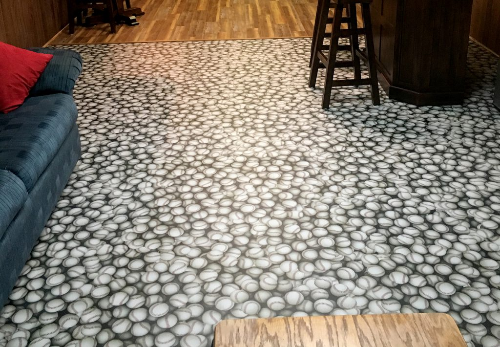 Custom printed baseball flooring using durable G-Floor material.
