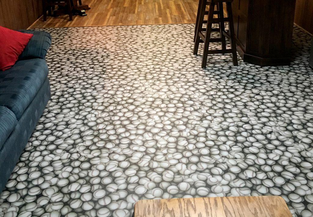 Custom printed baseball flooring using durable G-Floor material.
